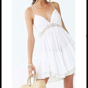 Crotchet trim lace halter white dress forever 21